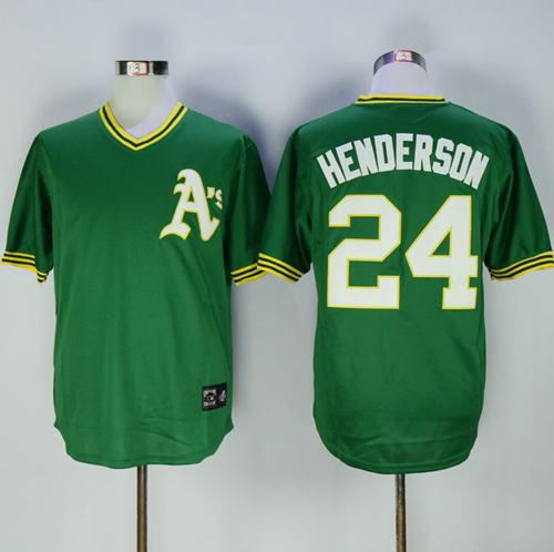 purchase cheap 62b07 2d462 Mitchell And Ness Athletics #24 Rickey Henderson Green ...