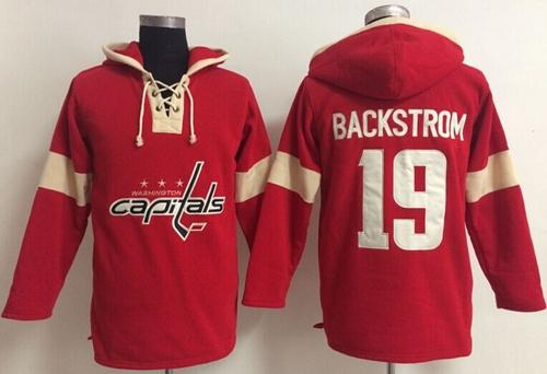 Washington Capitals  19 Nicklas Backstrom Red Pullover NHL Hoodie ... 60caac983